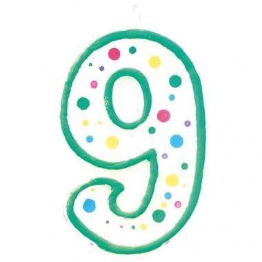 Bougie-chiffre verte 9 (env. 7,5 cm)