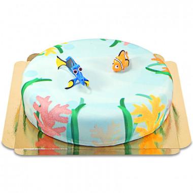 Nemo et Doris sur gâteau fond des mers