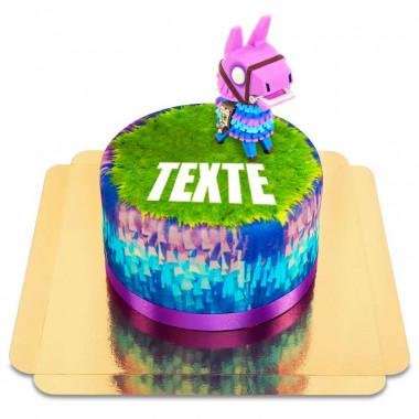 Gâteau avec figurine Lama de Fortnite