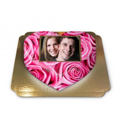 Gâteau-Photo roses roses en forme de coeur