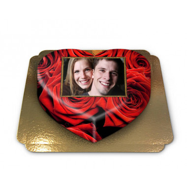 Gâteau-Photo roses rouges en forme de coeur