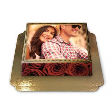 Gâteau Photo Cadre thème Roses Rouges