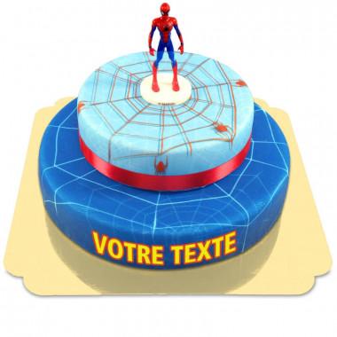 Gâteau Spiderman et sa toile d'araignée avec ruban