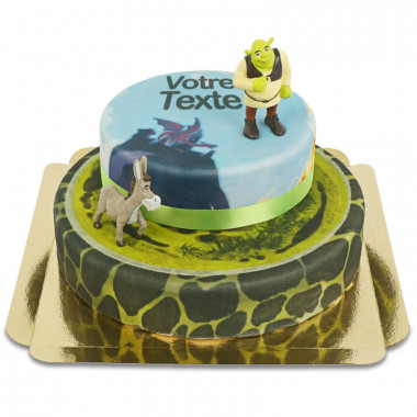 Figurine Shrek et l'Âne sur gâteau à deux étages