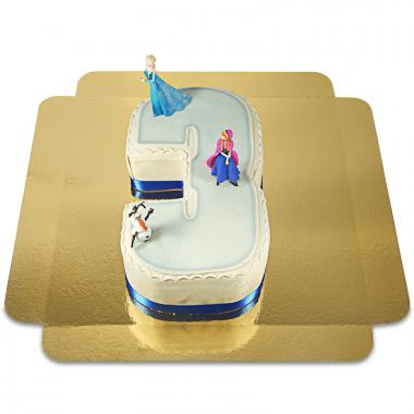 Gâteau-chiffre la Reine des neiges avec Anna et Olaf Nr. 3