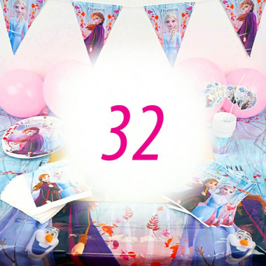Kit de décoration la Reine des Neiges - 32 personnes (gâteau non inclus)