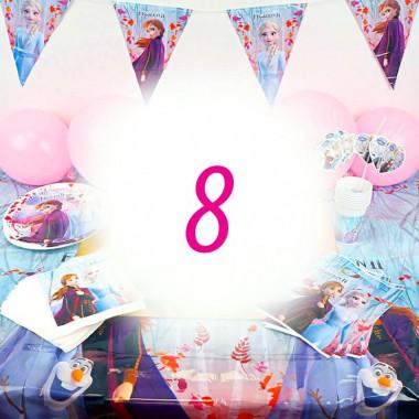 Kit de décoration la Reine des Neiges - 8 personnes (gâteau non inclus)