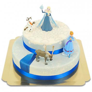 Reine des neiges et ses compagnons sur gâteau