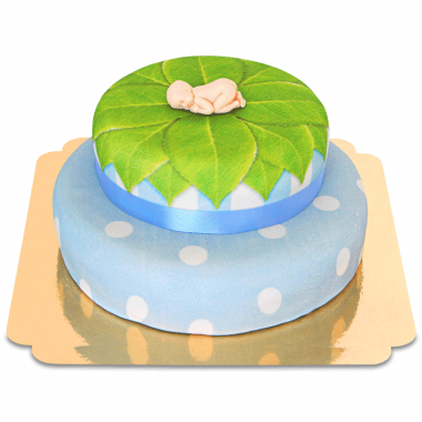 Bébé sur Gâteau à deux étages Bleu