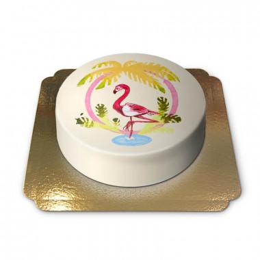 Gâteau Flamant rose sur fond jaune