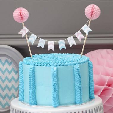Cake Topper Pastel avec Fanions