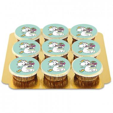 9 Cupcakes Licornes - Vert