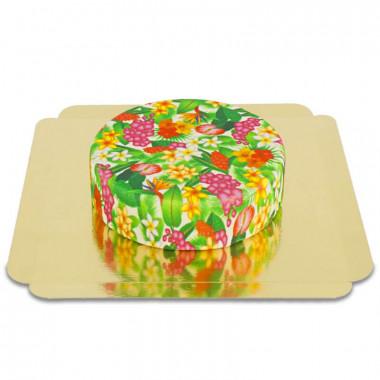 Gâteau de fleurs tropicales vert