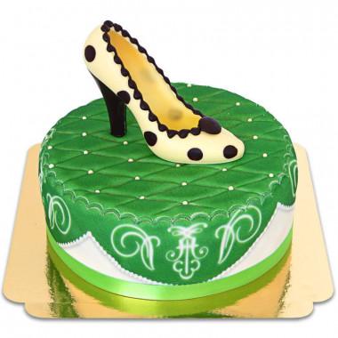 Escarpin en chocolat sur gâteau deluxe vert