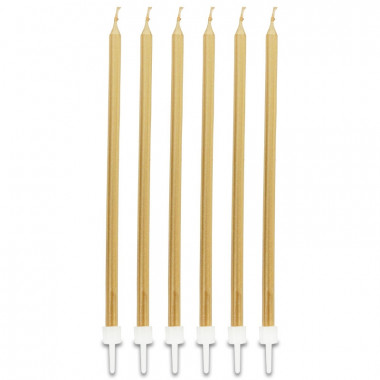 Bougies longues dorée (16 pièces)