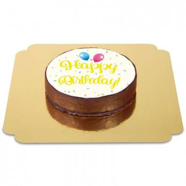 Gâteau Sacher Happy Birthday Jaune