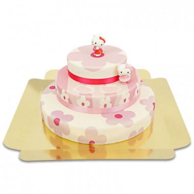 Figurine Hello Kitty sur gâteau à fleurs roses à 3 étages