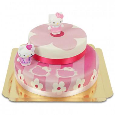 Figurine Hello Kitty sur gâteau fleurs roses (2 étages)