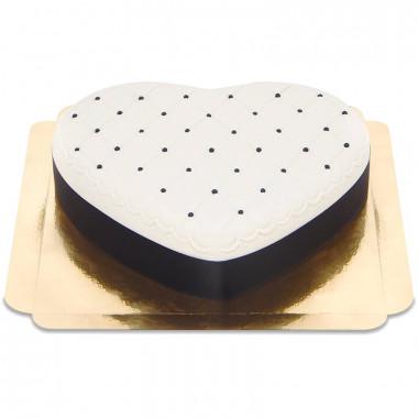 Gâteau Deluxe Coeur Saint-Valentin - Noir & Blanc
