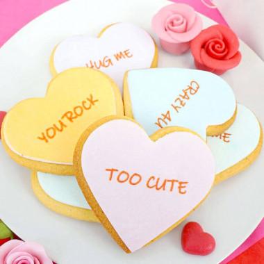 Biscuits coeurs à messages d'amour (12 pièces)