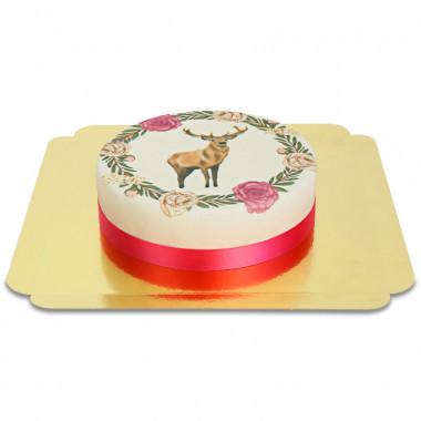 Gâteau Cerf et sa couronne de fleurs