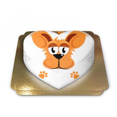 Gâteau chien en forme de coeur