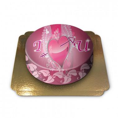Gâteau coeur avec ailes et flèche