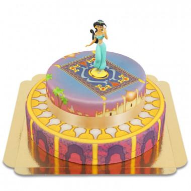 Figurine Jasmine survolant son palais sur gâteau