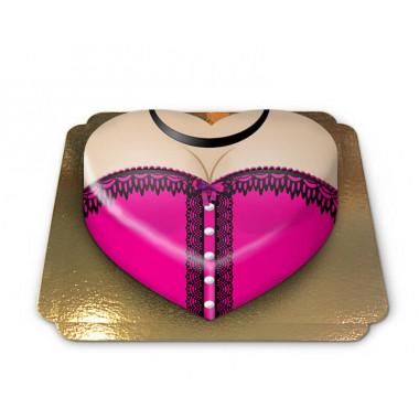 Gâteau corset rose en forme de coeur