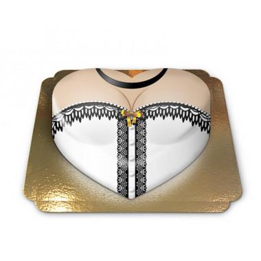 Gâteau corset blanc en forme de coeur