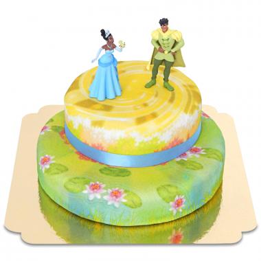 La princesse et la grenouille sur gâteau deux étages
