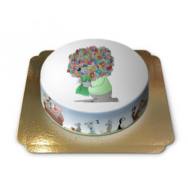Gâteau souris avec bouquet de fleurs