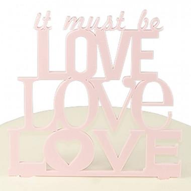 Décoration gâteau Love, couleur rose