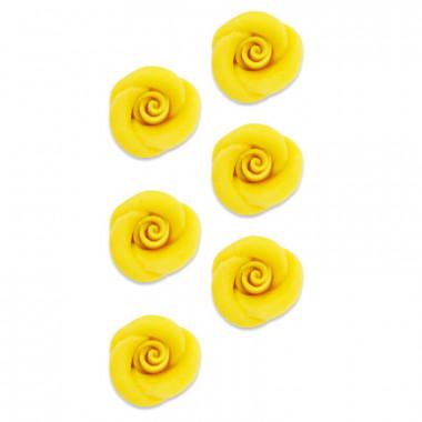 Roses jaunes pâte d'amande (6 pièces)