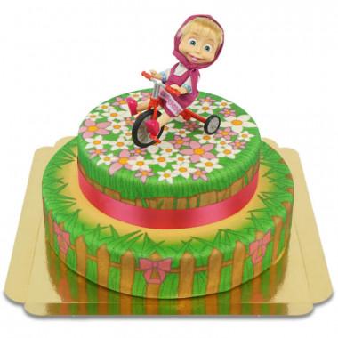 Gâteau fleuris avec figurine Macha