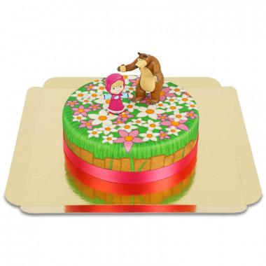 Figurines de Macha et l'ours sur gâteau prairie