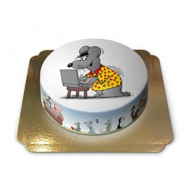 Gâteau souris sur ordinateur