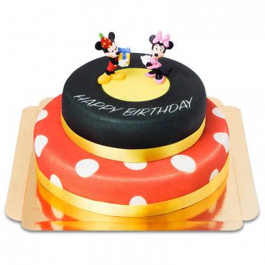 Gâteau Anniversaire Minnie et Mickey à deux étages