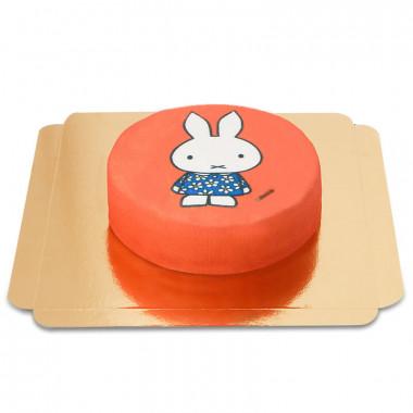 Gâteau Miffy le lapin sur fond rouge