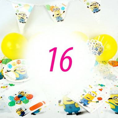 Kit de décorations Minions pour 16 enfants (gâteau NON INCLUS)