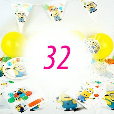 Kit de décorations Minions pour 32 enfants (gâteau NON INCLUS)
