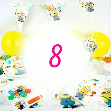 Kit de décorations Minions pour 8 enfants (gâteau NON INCLUS)