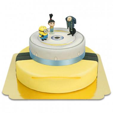 Minions sur gâteau deux étages