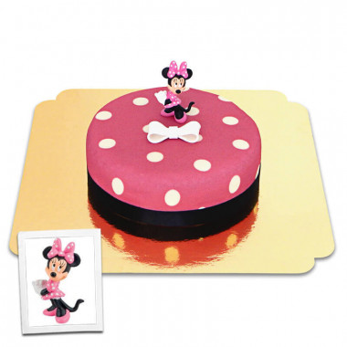 Minnie sur gâteau rose à pois