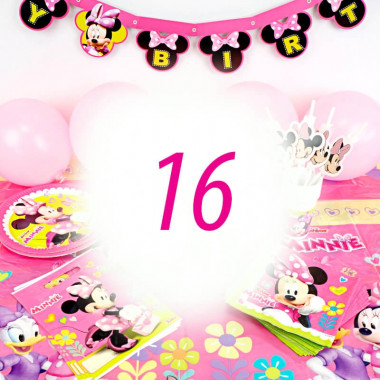 Kit de décoration Minnie pour 16 personnes (gâteau non inclus)