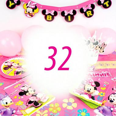 Kit de décoration Minnie pour 32 personnes (gâteau non inclus)