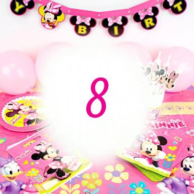 Kit de décoration Minnie pour 8 personnes (gâteau non inclus)