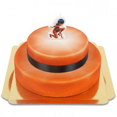 Gâteau deux étages avec bougie Ladybug de Miraculous