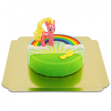 Figurine Cherry Berry My Little Pony sur Gâteau arc-en-ciel