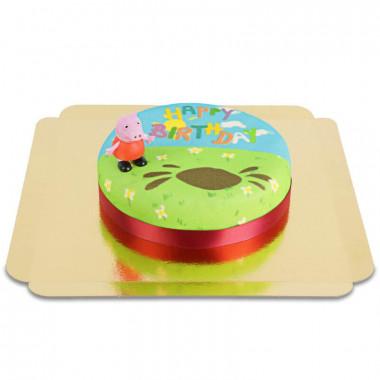 Gâteau d'anniversaire avec figurine Peppa Pig